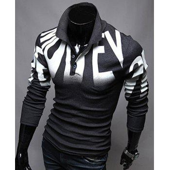 Turn-Down Collar Letters Print Design Long Sleeve Men's Polo T-Shirt - GRAY M