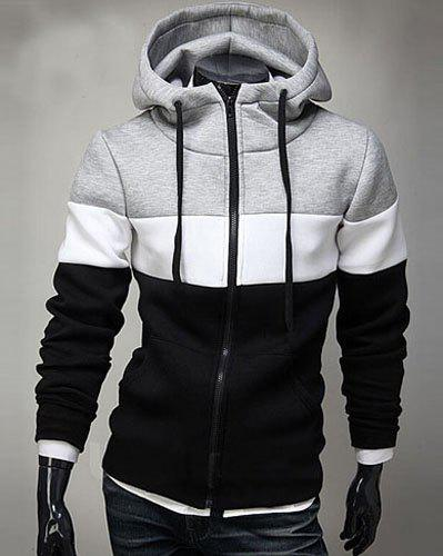 Casual Hooded Color Block Splicing Long Sleeve Men's Zip Up Hoodie - BLACK XL