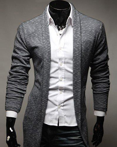 Casual Turn-Down Collar Slimming Long Sleeve Mens CardiganMen<br><br><br>Size: 2XL<br>Color: GRAY
