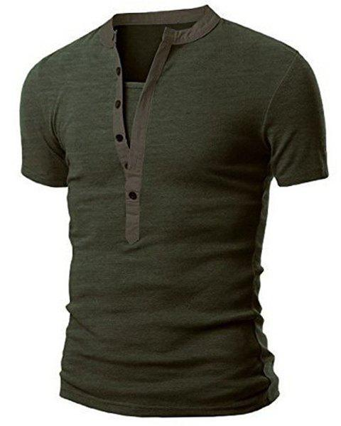 Splicing Design Stand Collar Short Sleeve Men's T-Shirt - GREEN XL