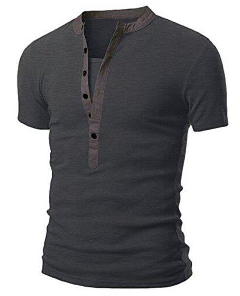 Splicing Design Stand Collar Short Sleeve Men's T-Shirt - DEEP GRAY M