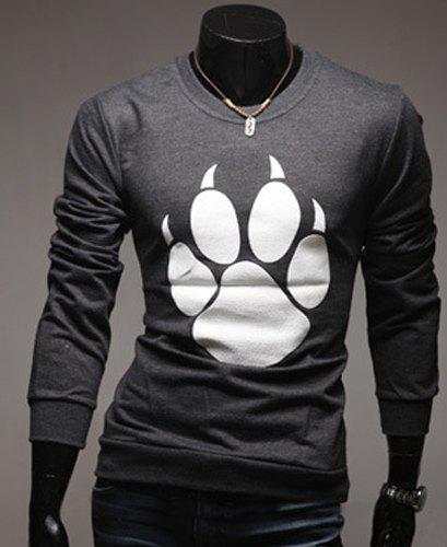 Round Neck Bear's Paw Design Long Sleeve Men's T-Shirt