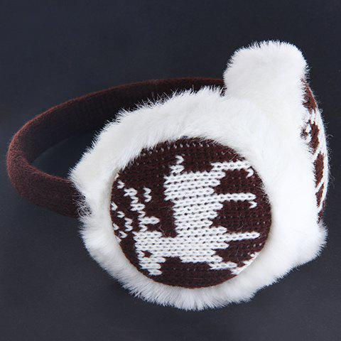 Chic Christmas Deer Pattern Knitted Matching Downy Earmuff For Women