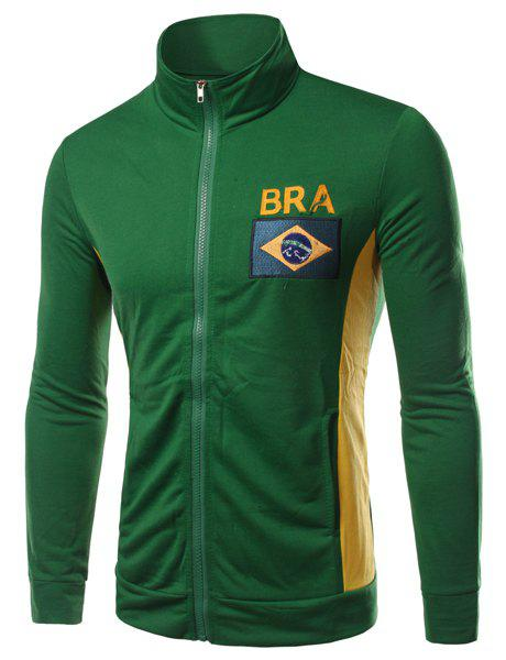 Stand Collar Brazil Flag and Letter Embroidered Long Sleeve Men's Jacket - ARMY GREEN M