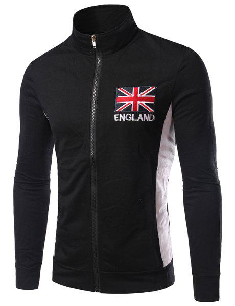 Stand Collar England Flag and Letter Embroidered Long Sleeve Men's Jacket - BLACK 2XL
