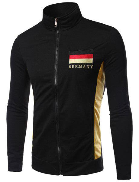Stand Collar Germany Flag and Letter Embroidered Long Sleeve Men's Jacket - BLACK L