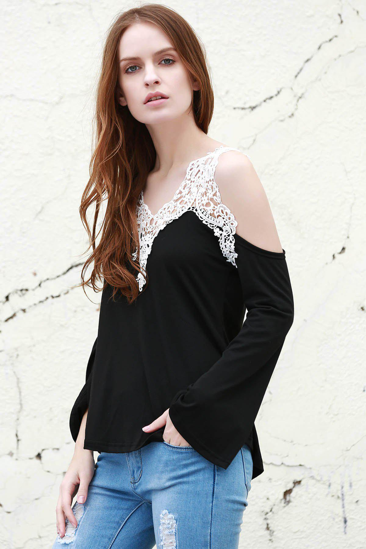 Sweet Laced V-Neck Long Sleeve T-Shirt For Women