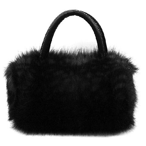 Faux Fur Handbag - BLACK