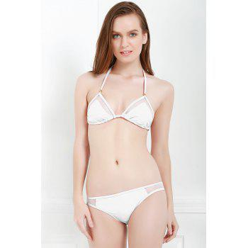 Sexy Style Solid Color Voile Splicing Tie-Up Divided Type Swimwear For Women - WHITE S