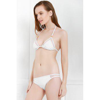 Sexy Style Solid Color Voile Splicing Tie-Up Divided Type Swimwear For Women - S S