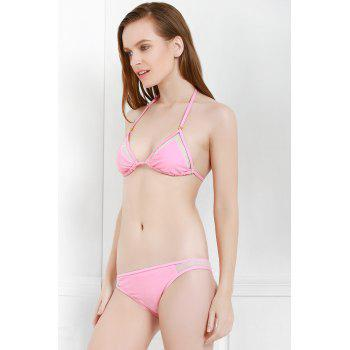 Sexy Style Solid Color Voile Splicing Tie-Up Divided Type Swimwear For Women - PINK PINK