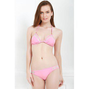 Sexy Style Solid Color Voile Splicing Tie-Up Divided Type Swimwear For Women