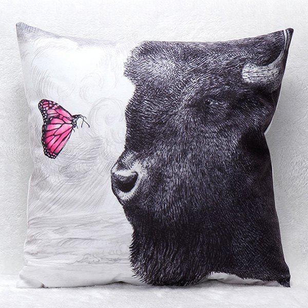 High Quality 3D Animals Pattern Square Shape Synthesis of Flax Pillow Case(Without Pillow Inner)