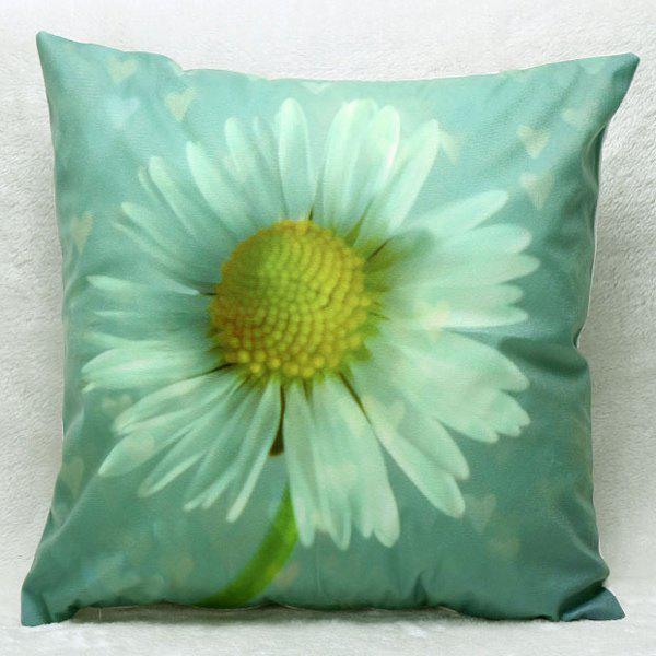 High Quality 3D Daisy Pattern Square Shape Synthesis of Flax Pillow Case(Without Pillow Inner)