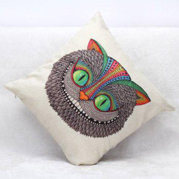 High Quality Owl Pattern Square Shape Flax Pillow Case(Without Pillow Inner) - COLORMIX