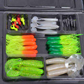 Stylish 35 PCS Soft Worm Bait Lure 10 PCS Lead Head Hooks Combination Set