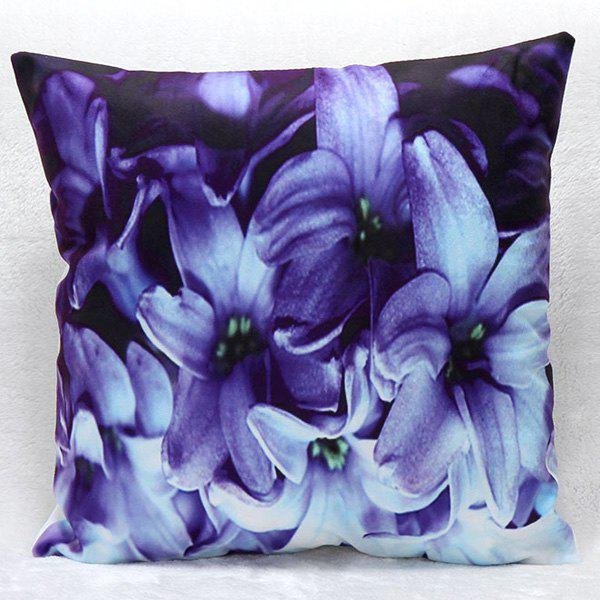 High Quality 3D Daffodil Pattern Square Shape Synthesis of Flax Pillow Case(Without Pillow Inner) - PURPLE