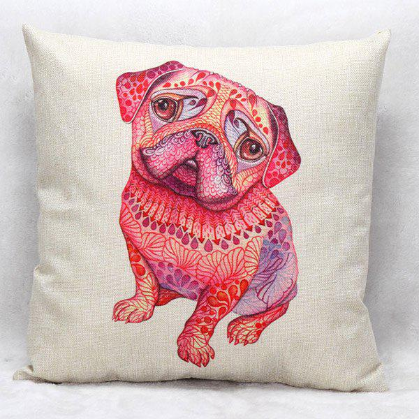 High Quality Puppy Pattern Square Shape Flax Pillow Case(Without Pillow Inner)