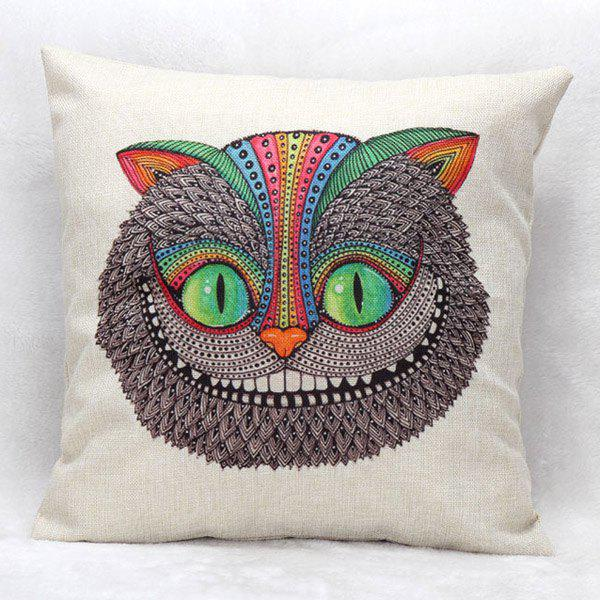 High Quality Owl Pattern Square Shape Flax Pillow Case(Without Pillow Inner)