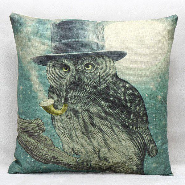 High Quality Owl Pattern Square Shape Synthesis of Linen Pillow Case(Without Pillow Inner)