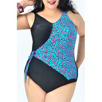 Sexy V Neck Backless Plus Size Leopard Print One-Piece Women's Swimwear - LAKE BLUE 3XL
