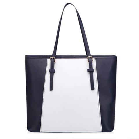 Casual Color Matching and PU Leather Design Shoulder Bag For Women - BLUE