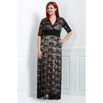 Brief Plus Size V-Neck Half Sleeve Lace Dress For Women