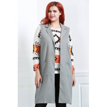 Stylish Sleeveless Turn-Down Collar Side Slit Women's Gray Waistcoat