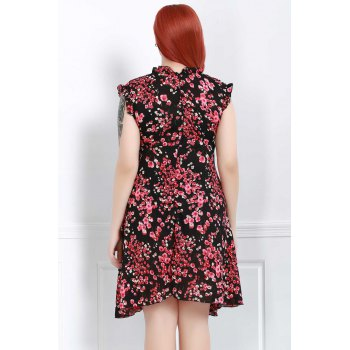 Graceful Sleeveless V-Neck Chiffon Tiny Floral Print Dress For Women - 3XL 3XL