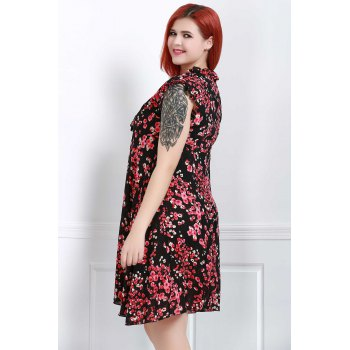 Graceful Sleeveless V-Neck Chiffon Tiny Floral Print Dress For Women - RED RED