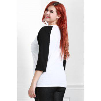 Casual Scoop Neck 3/4 Sleeve Printed Baseball T-Shirt For Women - WHITE 2XL