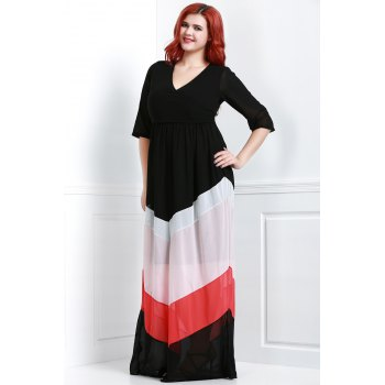 Charming V-Neck 3/4 Sleeve Zigzag Printed Loose Maxi Dress For Women - 3XL 3XL