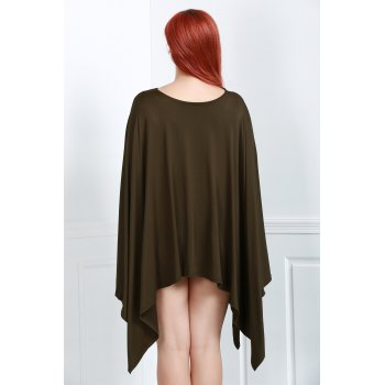 Simple Solid Color 1/2 Batwing Sleeve Asymmetric Loose Top For Women - L L