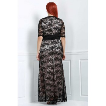 Brief Plus Size V-Neck Half Sleeve Lace Dress For Women - BLACK BLACK