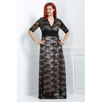 Brief Plus Size V-Neck Half Sleeve Lace Dress For Women - BLACK 3XL