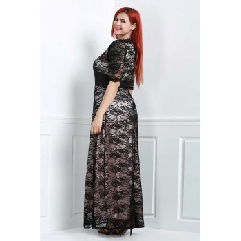 Brief Plus Size V-Neck Half Sleeve Lace Dress For Women - 4XL 4XL