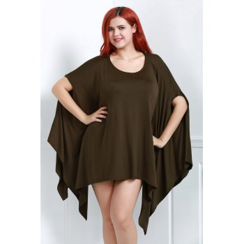 Handkerchief Plus Size Caped Top with Batwing Sleeve - BLACKISH GREEN S