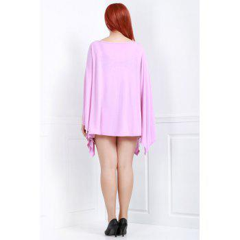 Handkerchief Plus Size Caped Top with Batwing Sleeve - PINK L