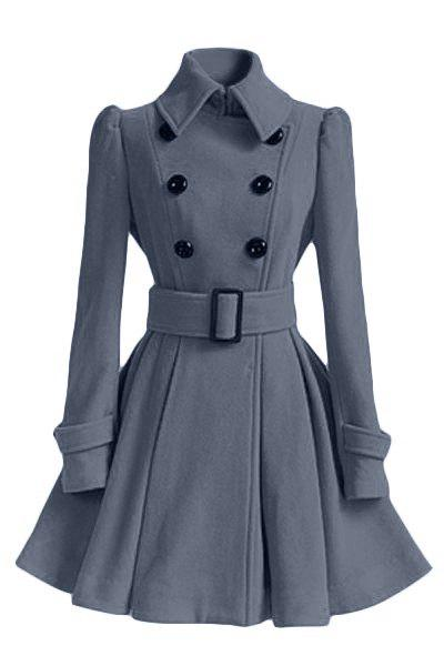 Double Breasted Fit and Flare Wool Coat - GRAY M