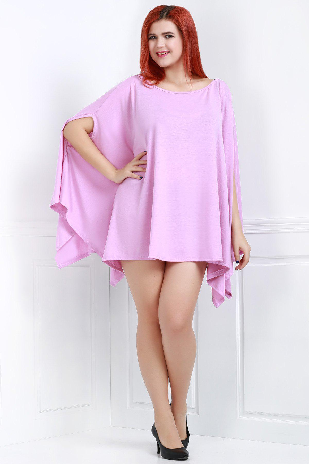 2018 handkerchief plus size caped top with batwing sleeve for Handkerchief shirt plus size