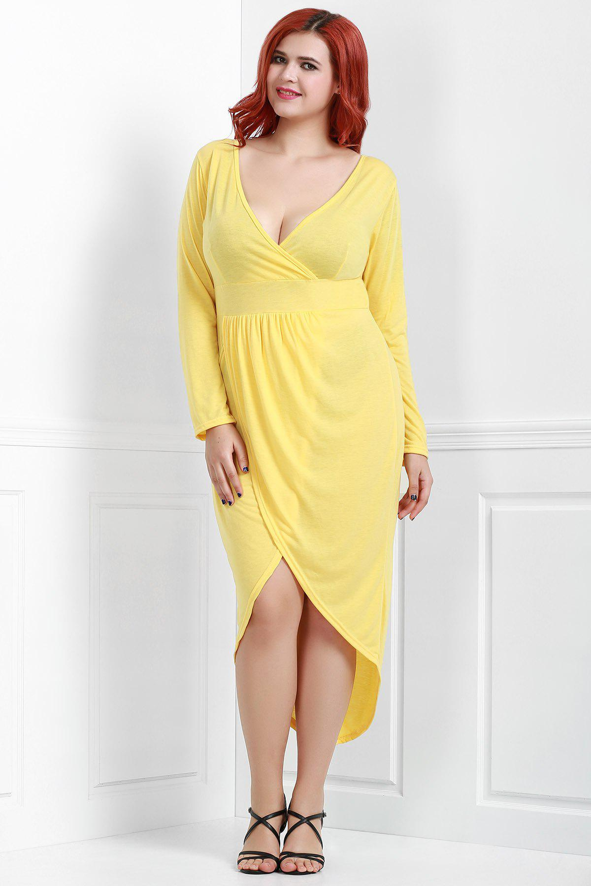 Chic Women's V-Neck Long Sleeve Solid Color Wrap Dress - YELLOW 2XL
