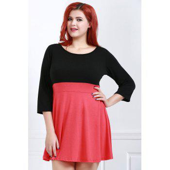 Fashionable Scoop Neck Color Block Plus Size 3/4 Sleeve Women's Dress