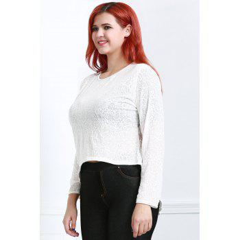 Stylish Long Sleeve Round Collar Pure Color Women's T-Shirt - OFF WHITE 2XL