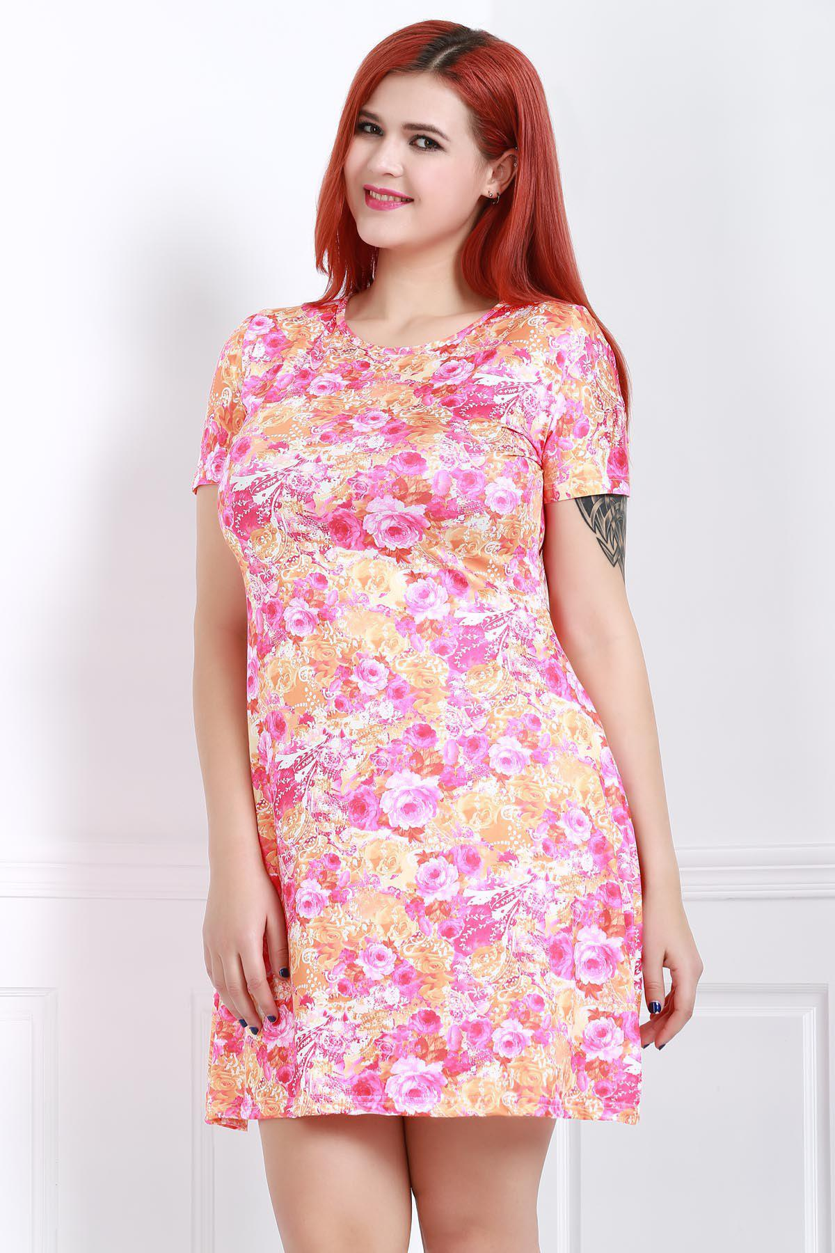 Stylish Scoop Collar Short Sleeve Plus Size Floral Print Women's Dress - ROSE 2XL