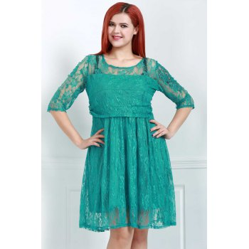 Graceful Half Sleeve Round Collar Lace Women's Green Dress