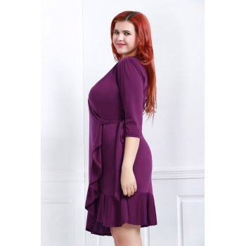 Fashionable V-Neck 3/4 Sleeve Solid Color Ruffles Spliced Midi Dress For Women - PURPLE 3XL