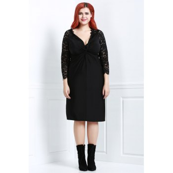 Sexy Black Plunging Neck Lace Spliced Long Sleeve Dress For Women - BLACK 2XL