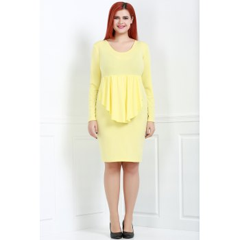 Sexy Plunging Neck Long Sleeve Plus Size Pure Color Women's Dress - YELLOW 3XL