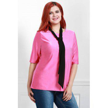 Attractive Round Collar Half Sleeve Belted Plus Size Blouse For Women - ROSE 3XL