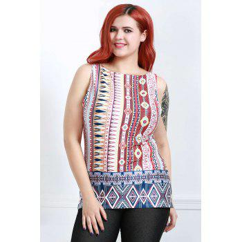 Retro Style Sleeveless V-Neck Zippered Ethnic Print Women's Tank Top